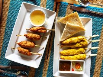 Battered prawns & Chicken Satay