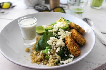 Quinoa feta and falafels